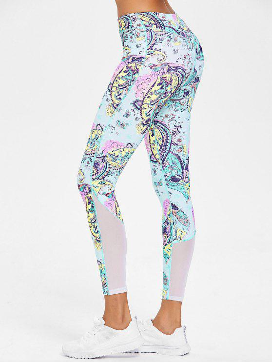 fancy Printed Mesh Panel Leggings - MULTI L