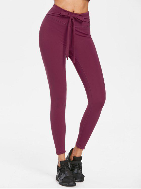 Self Tie High Waisted Leggings   Plum Velvet S by Zaful