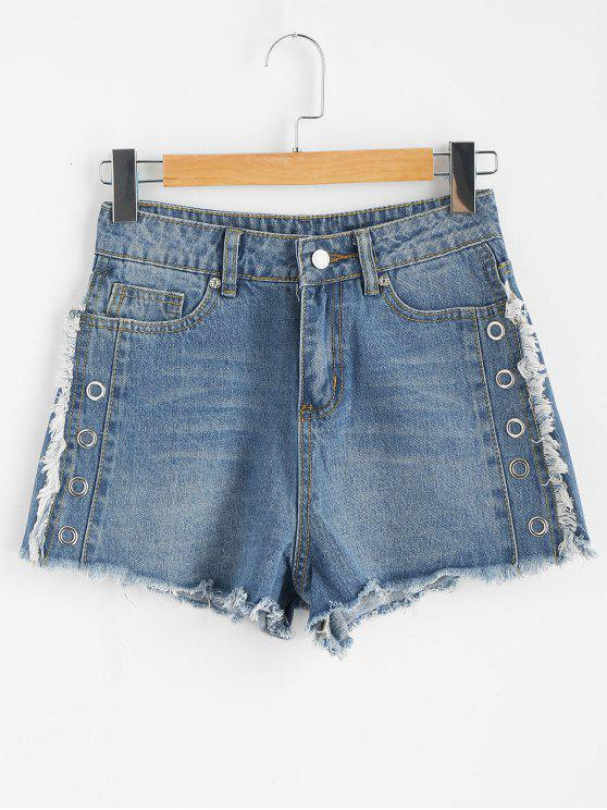Tülle Ausgefranste Saum Denim Shorts - Denim Blau M