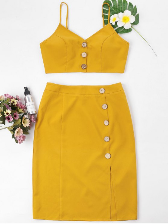 best Buttoned Cami Top and Pencil Skirt Set - MUSTARD S
