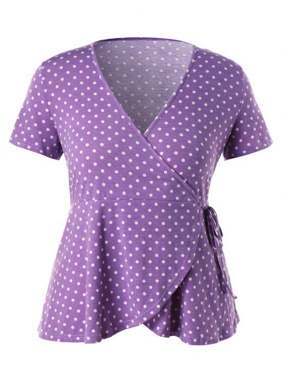 unique Plus Size Polka Dot Wrap Tee - PURPLE FLOWER 2X