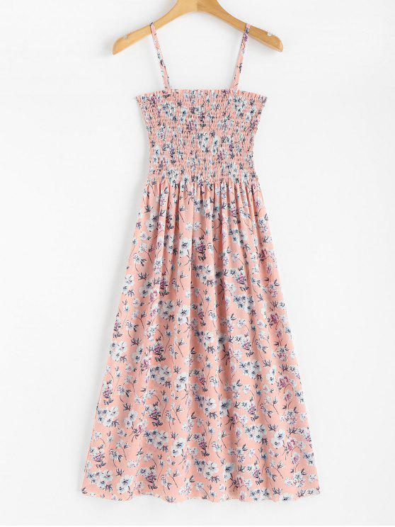 women's Floral Print Smocked Cami Midi Dress - LIGHT PINK ONE SIZE