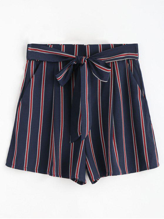 best Chiffon Striped Tied Shorts - DARK SLATE BLUE L