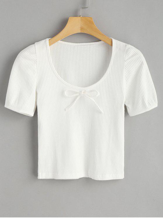 Camiseta de punto acanalada - Blanco Talla única