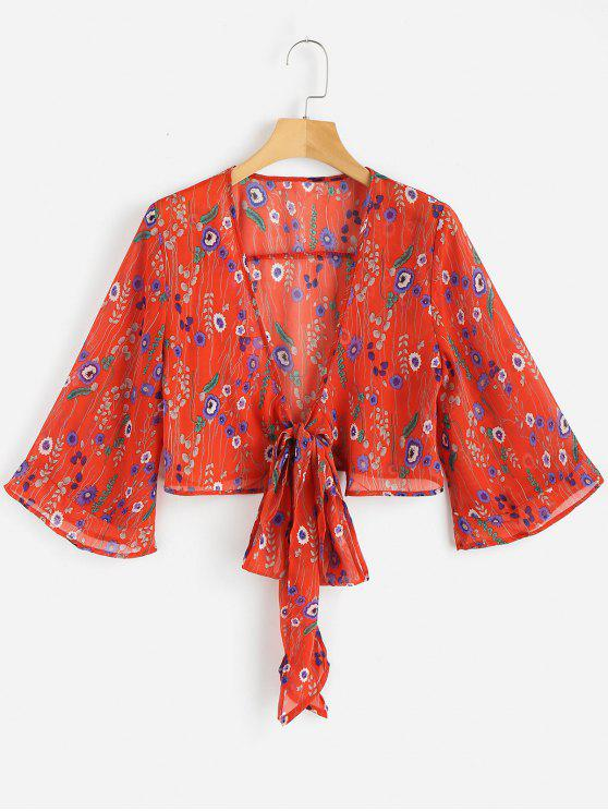 latest Floral Print Tied Front Blouse - LOVE RED M