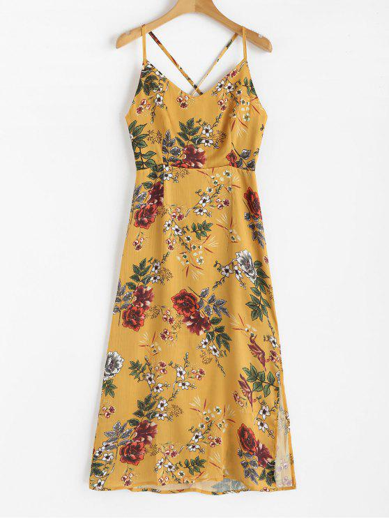3e6ecc5fb6b 31% OFF  2019 Strappy Flowy Floral Maxi Dress In MUSTARD