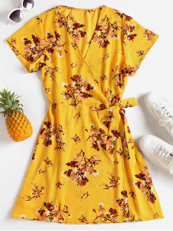 الأزهار طباعة اغراق الرقبة اللباس - المطاط الحبيب الأصفر M