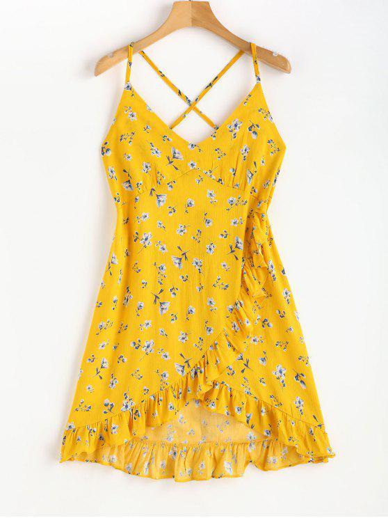 shops Faux Wrap Floral Print Strappy Mini Dress - SUN YELLOW S