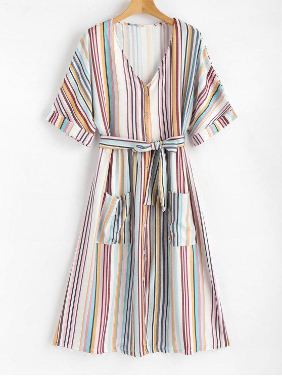 fancy Patch Pockets Striped Button Up Midi Dress - MULTI S