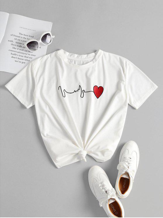 T bordado coração atado - Branco M