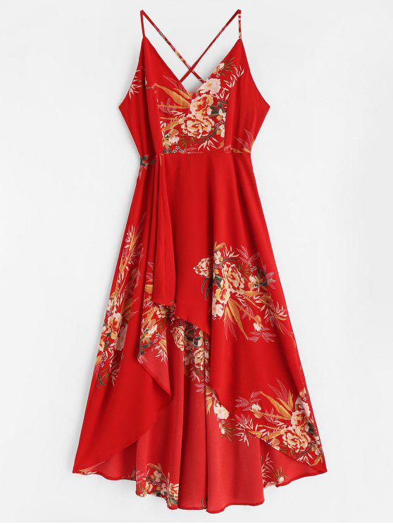 best Floral Lace-up High Low Dress - LOVE RED M