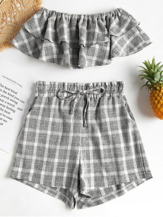 women Checked Tube Top and Shorts Two Piece Set - GRAY M
