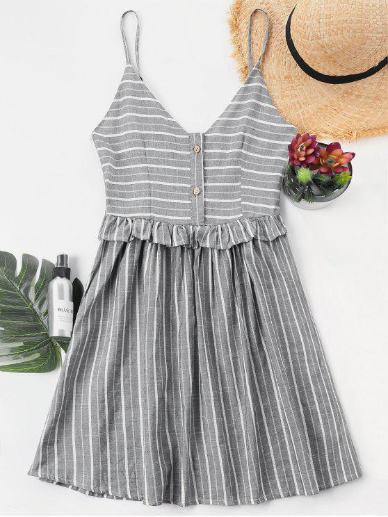 online Ruffle Trim Striped Cami Dress - LIGHT GRAY L