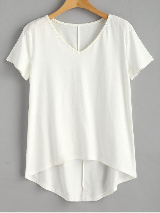 affordable V Neck High Low Tee - WHITE L