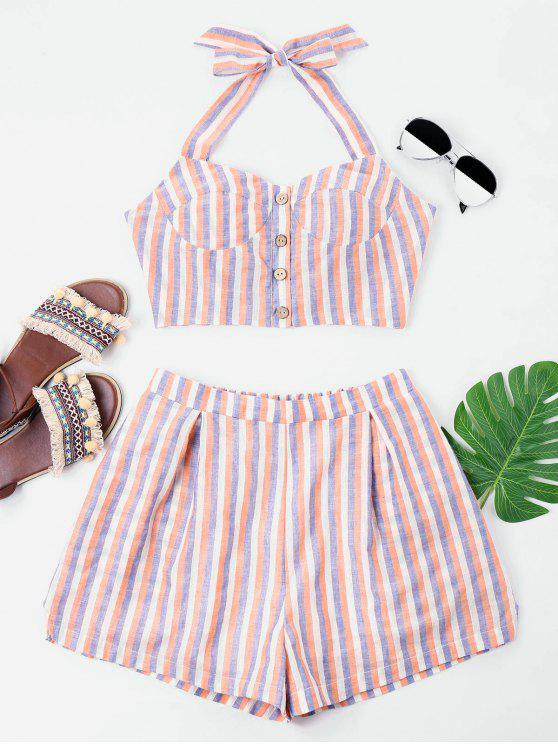 outfits Button Up Striped Shorts Set - MULTI XL