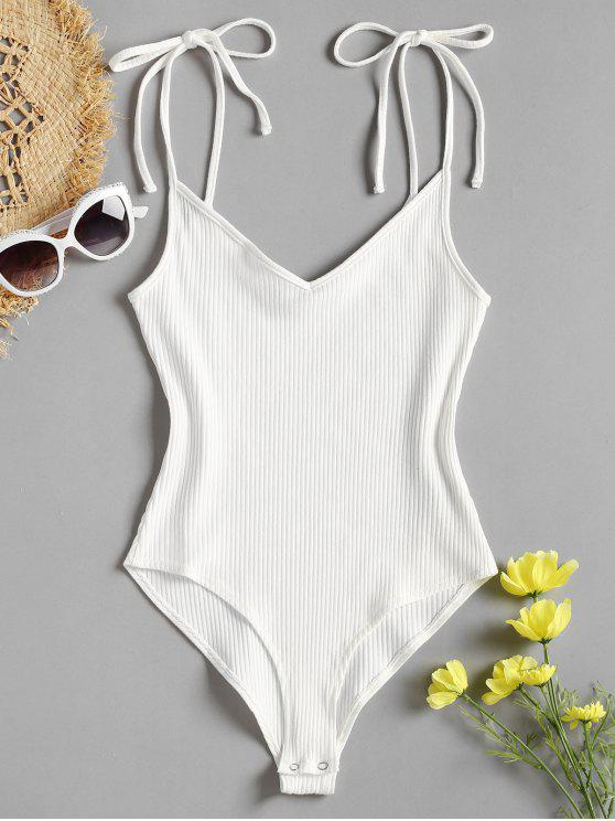 women Tie Straps High Cut Bodysuit - WHITE L