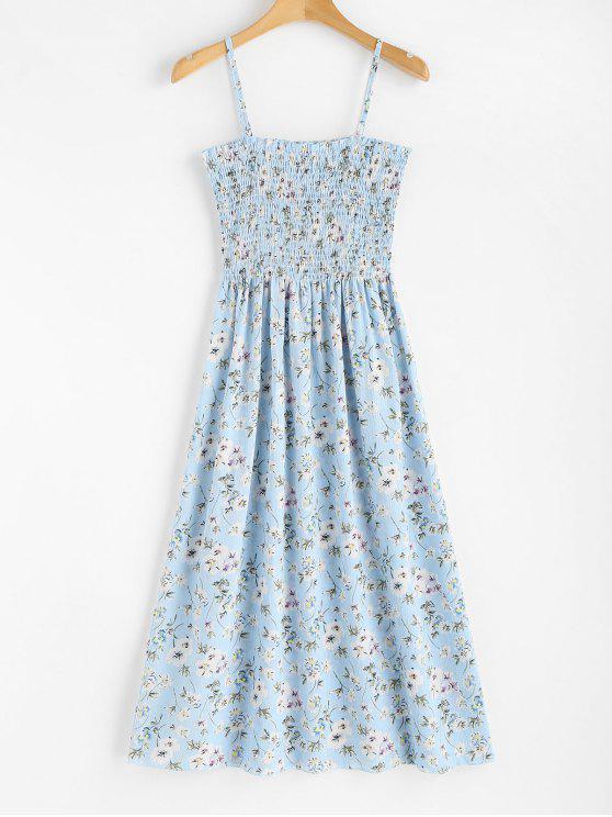 Vestido a media pierna con estampado floral de Cami - Celeste Ligero Talla única