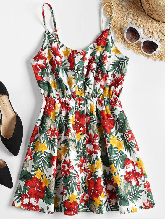 outfits Floral Print Skort Playsuit - MULTI S