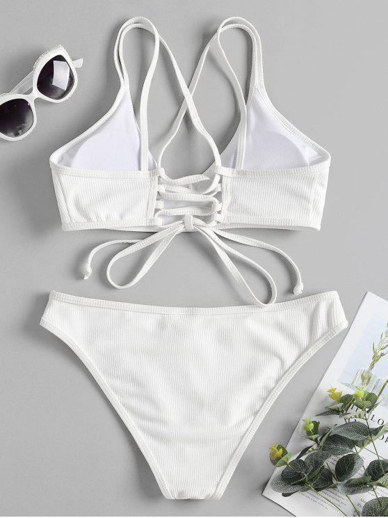 outfits Cross Back Lace Up Bikini Set - WHITE S