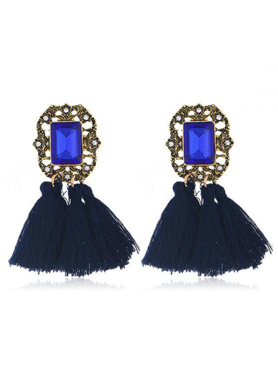 Statement handgemachte Quaste baumeln Ohrringe - Blau