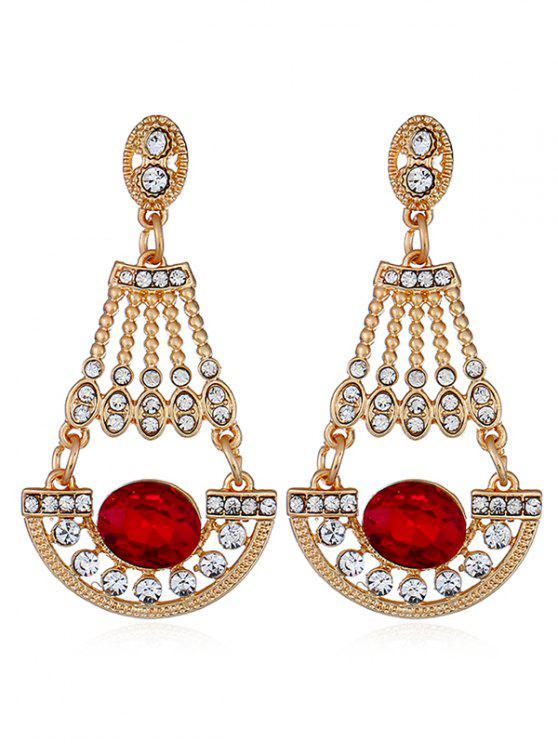 new Shiny Rhinestone Faux Gem Dangle Earrings - RED