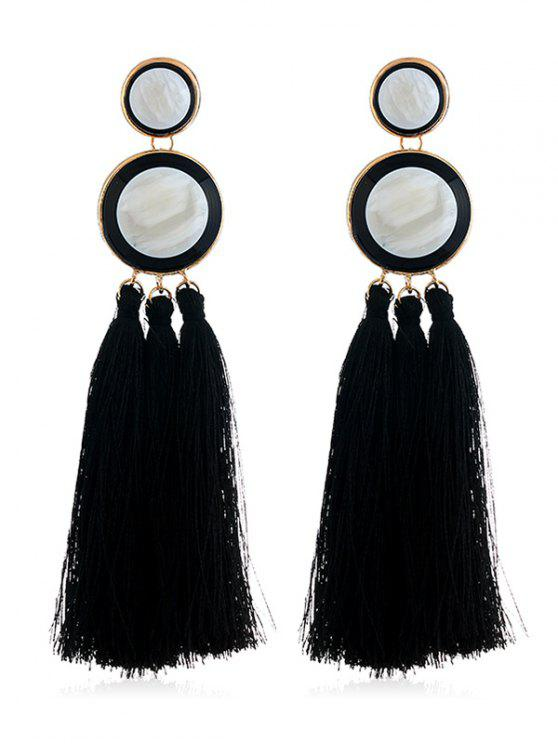 Boho Round Long Tassel Dangle Earrings - Nero