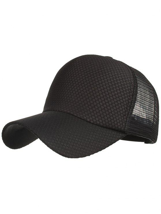 outfits Outdoor Solid Color Mesh Sun Hat - BLACK