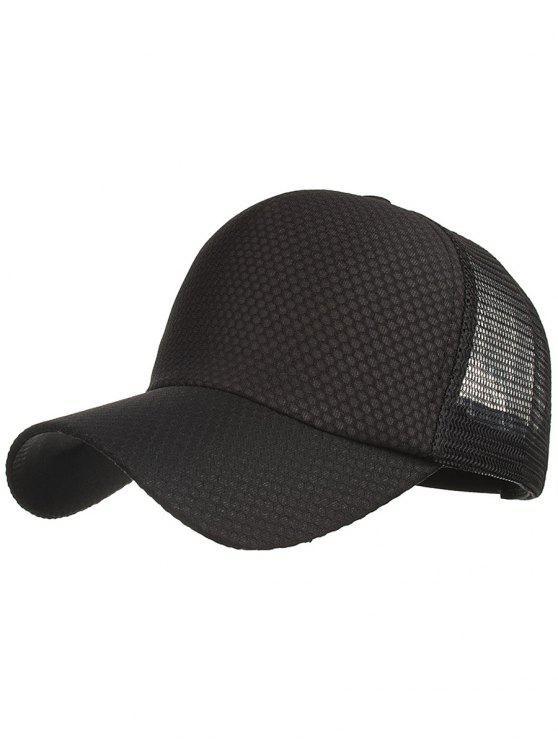 Chapeau de Protection Solaire en Maille de Couleurs Unie pour Plein-Air - Noir
