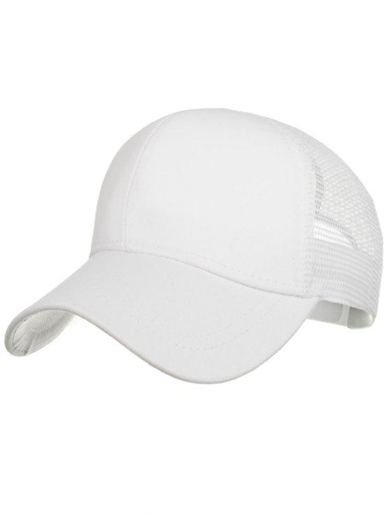 fashion Outdoor High Bun Ponytail Mesh Baseball Cap - WHITE
