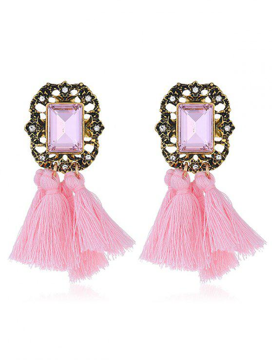 new Statement Handmade Tassel Dangle Drop Earrings - PINK