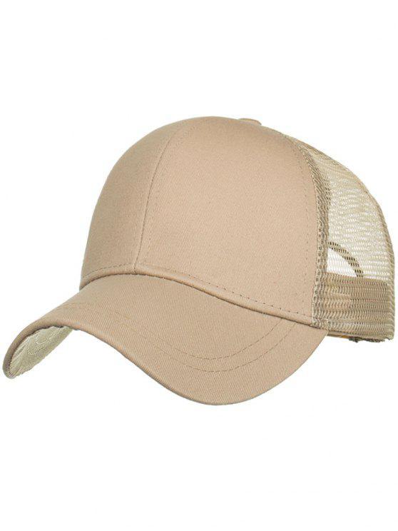 Gorra de béisbol al aire libre de malla de cola de caballo con moño alto - Caqui Claro