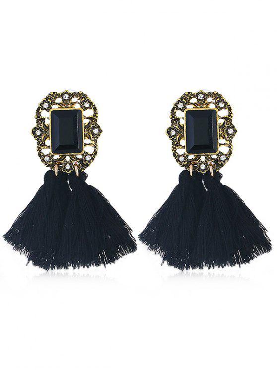 outfits Statement Handmade Tassel Dangle Drop Earrings - BLACK