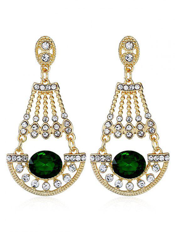 Orecchini Pendenti Con Gemma Sintetica Intarsiati Con Diamante Artificiale - Verde Foresta Medio
