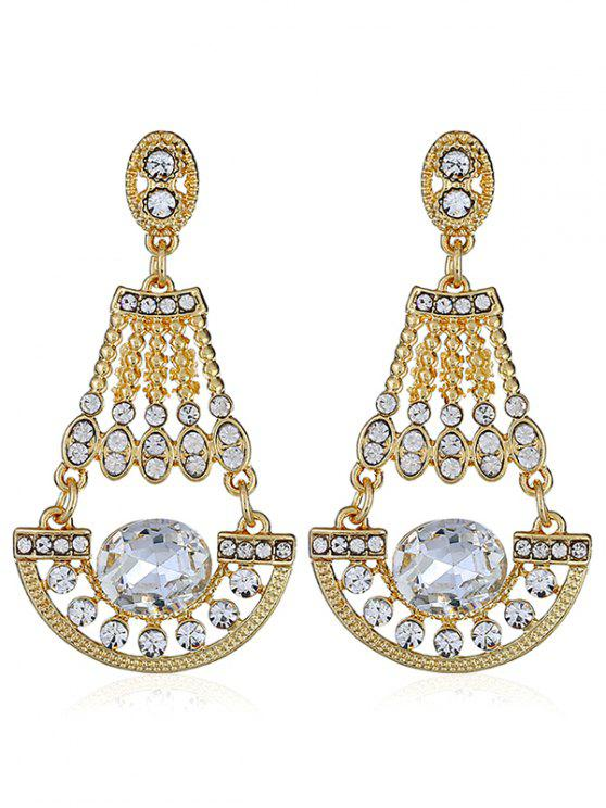 chic Shiny Rhinestone Faux Gem Dangle Earrings - WHITE