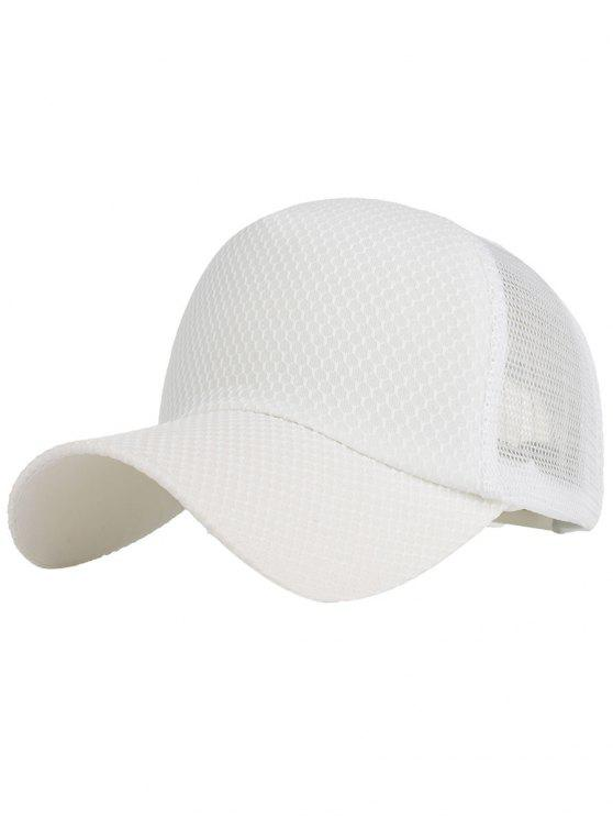 lady Outdoor Solid Color Mesh Sun Hat - WHITE