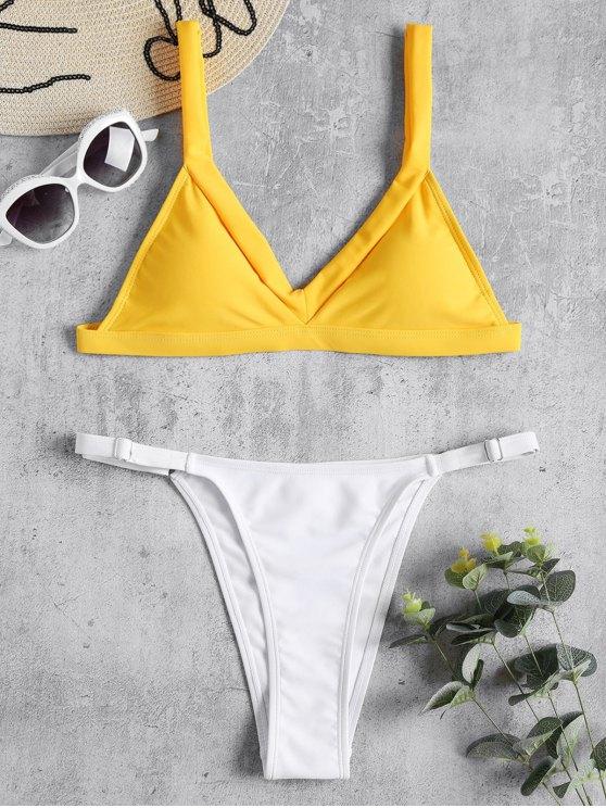 womens Cami Two Tone String Bikini - RUBBER DUCKY YELLOW L