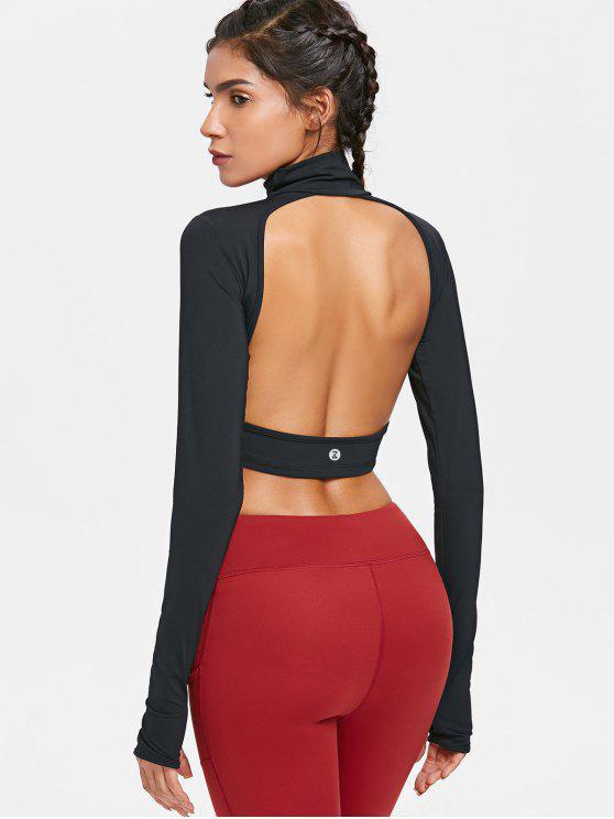 Rücken Ausgeschnitten Hoher Ausschnitt Trainings T-Shirt - Schwarz S