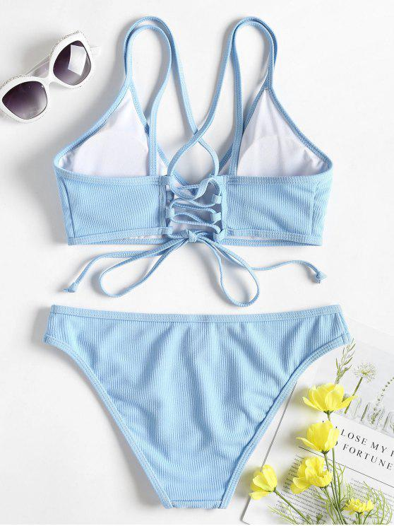 695f3a85e2 28% OFF   HOT  2019 Cross Back Lace Up Bikini Set In LIGHT SKY BLUE ...