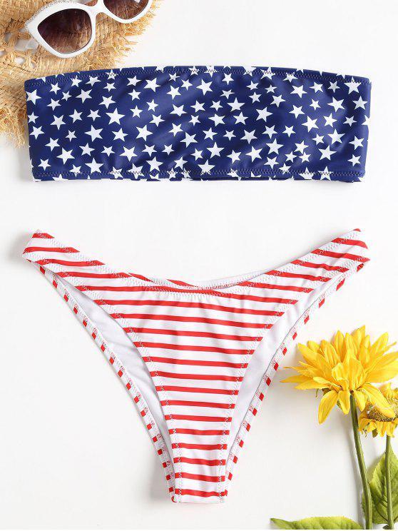 العلم الأمريكي العصابة بيكيني مجموعة - الحب الاحمر M