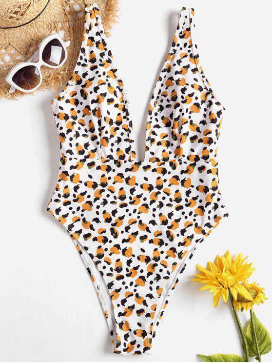 Swimwear de mergulho com padrão de corte alto - Branco M