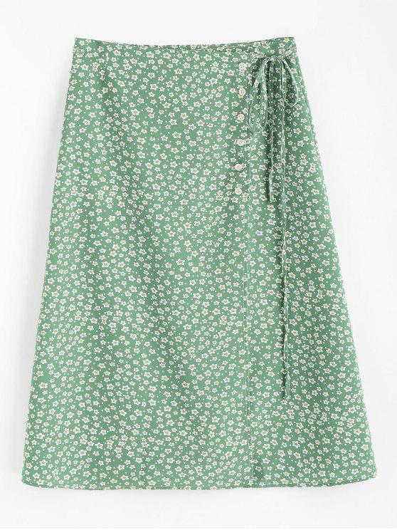 chic Tiny Floral Buttoned Wrap Skirt - CLOVER GREEN M