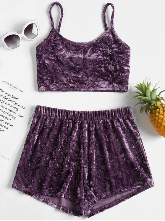 ladies Crushed Velvet Cami Top Shorts Matching Set - VIOLA PURPLE L