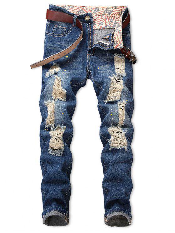جينز مزين بشعار زيبر - الضوء الأزرق 36