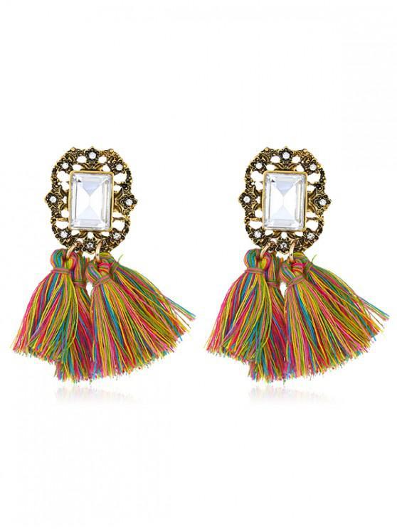latest Statement Handmade Tassel Dangle Drop Earrings - MULTI