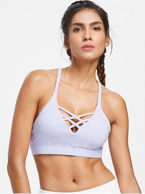 best Mid Impact Lattice Crisscross Sports Bra - MAUVE M