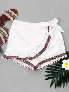 Ruffled Pompom Tribal Knot Shorts - White M