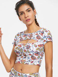 Floral Cut Out Sports Tee - White L