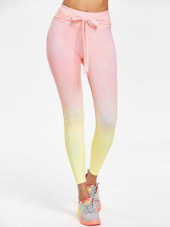 Ombre Self-tie Sports Leggings - Pig Pink L