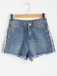 Grommet Frayed Hem Pantalones Cortos De Mezclilla - Azul Denim L