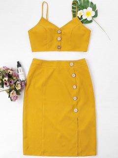 Buttoned Cami Top And Pencil Skirt Set - Mustard Xl